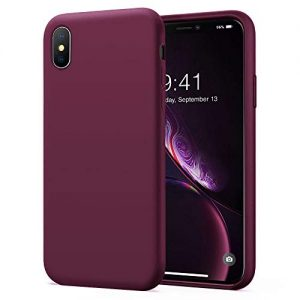 KUMEEK iPhone X/Xs Case, Soft Silicone Gel Rubber Bumper Case Anti-Scratch Microfiber Lining Hard Shell Shockproof Full-Body Protective Case Cover for Apple iPhone X/iPhone Xs-WineRed