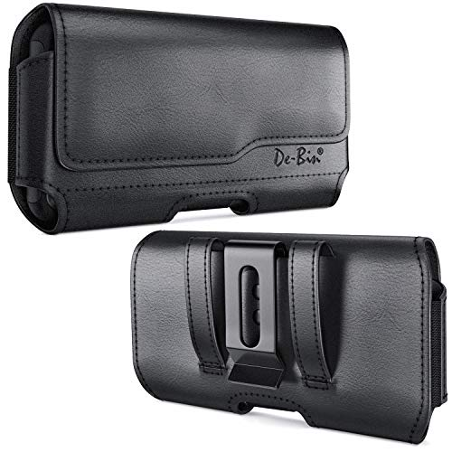 DeBin iPhone 11 iPhone XR Holster, Leather Belt Holster Case with Belt Clip and Loops Cell Phone Holder Pouch for Apple iPhone 11 / XR (Fits Cellphone with Other Case Cover on) Black